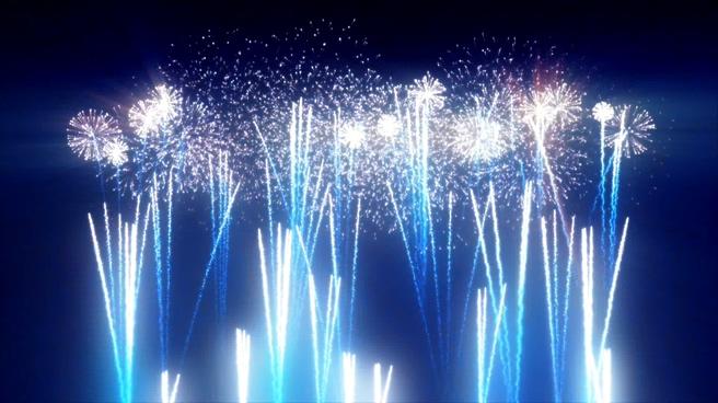 蓝色高空上升LED烟花背景视频素材