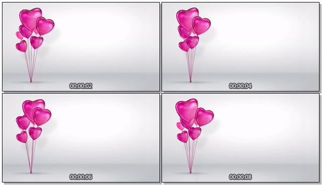 粉色心形气球背景视频素材