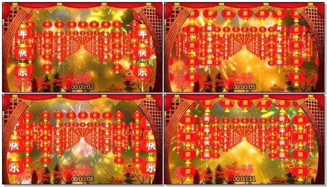 春节过年灯笼串背景视频素材