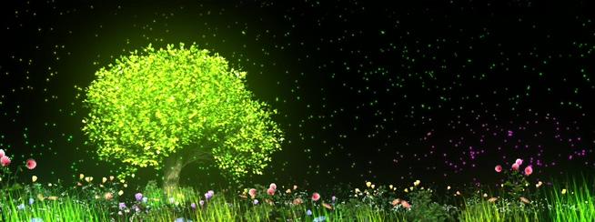 绿色多彩全息许愿树背景视频素材