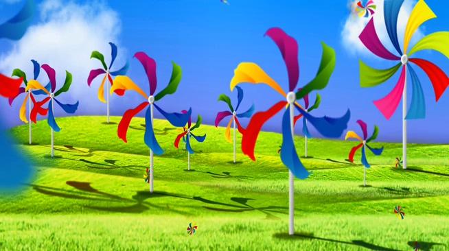 多彩旋转风车音乐背景视频素材