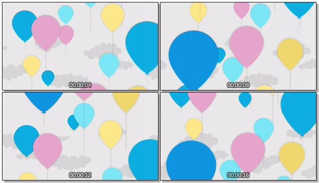 简洁多彩线条画气球背景视频素材