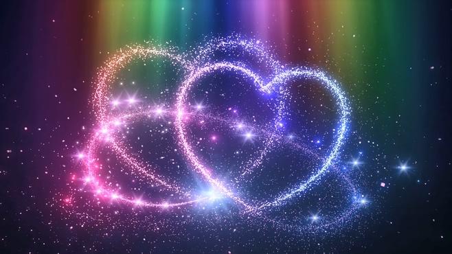 炫彩唯美星空粒子双心背景视频素材