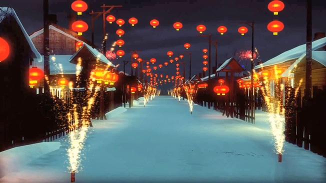 夜晚雪乡张灯结彩背景视频素材