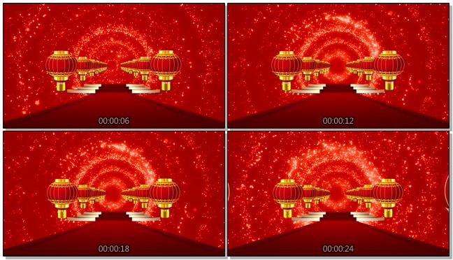 灯笼红地毯喜庆节日舞台背景视频素材2