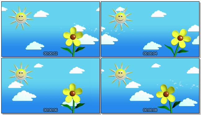 微立体太阳花朵背景视频素材