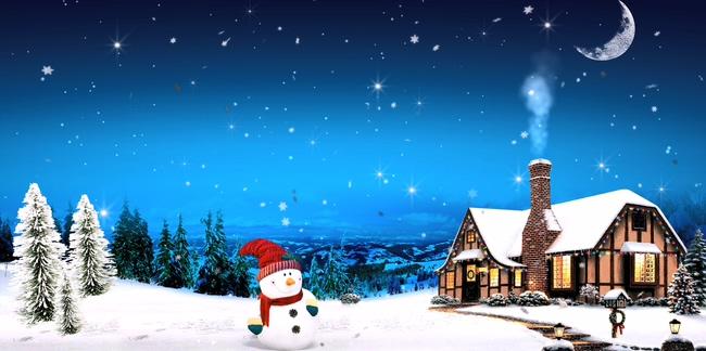 雪人木屋圣诞节背景视频素材