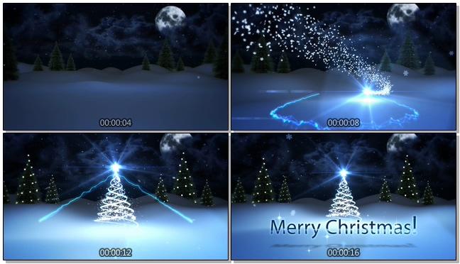 蓝色夜景圣诞节动态背景视频素材