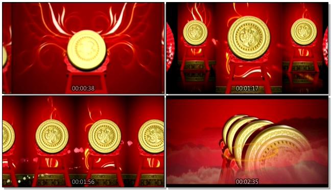 喜庆中国风水鼓鼓舞音乐背景视频素材