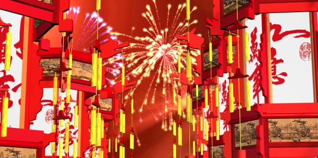红色中国结烟花灯笼背景视频素材