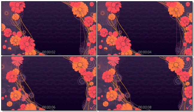 深紫色手绘花卉唯美浪漫背景视频素材