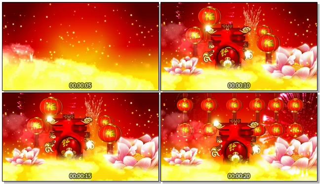 红色立体春节春字背景视频素材