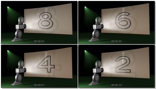 简洁放映机倒计时背景视频素材