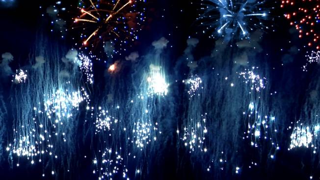 蓝色动态烟花背景视频素材