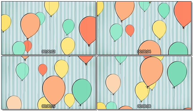 简洁手绘气球背景视频素材