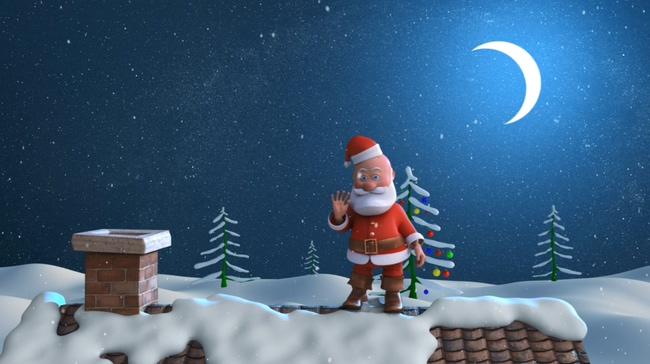 蓝色夜景圣诞老人背景视频素材