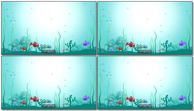 简洁深海鱼群背景视频素材
