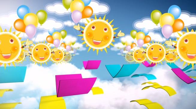 六一儿童节卡通太阳背景视频素材