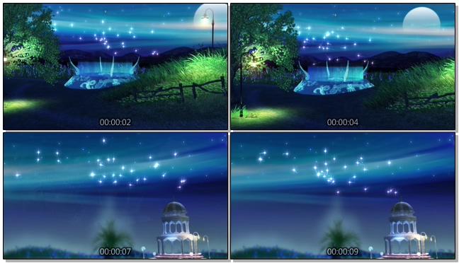 蓝色夜空亭子筑梦国度背景视频素材