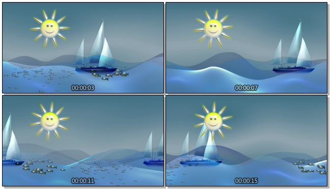 蓝色帆船太阳背景视频素材