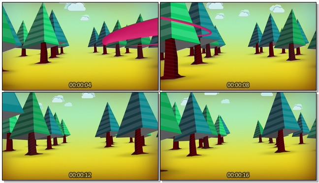 手绘沙漠树木背景视频素材