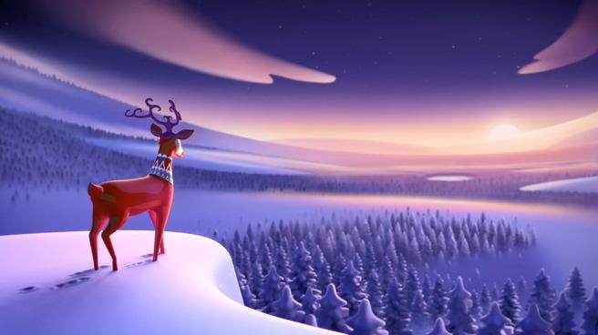 圣诞节风景深山小鹿音乐背景视频素材