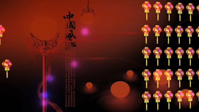 大红福字灯笼列阵音乐背景视频素材2