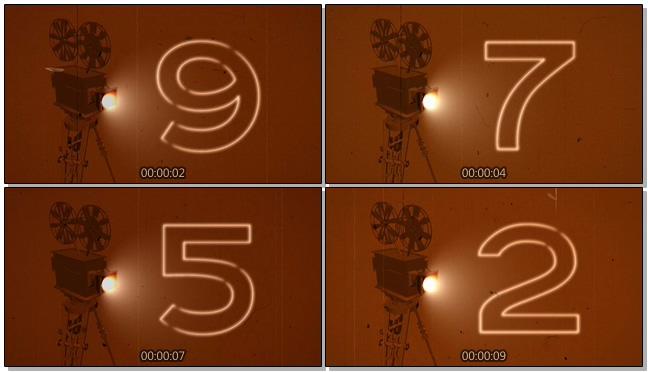 咖啡色放映机倒计时背景视频素材2