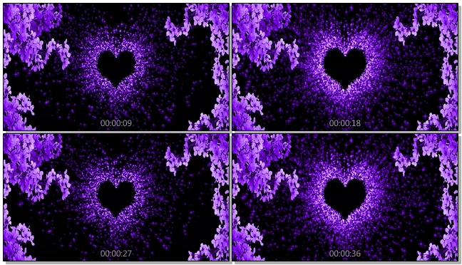 深紫色粒子心形背景视频素材