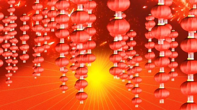 新年粉色灯笼串背景视频素材