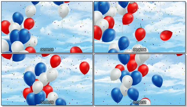 蓝色国庆庆典气球背景视频素材