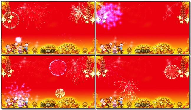 喜庆新春喜庆背景鞭炮声背景视频素材