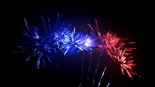 蓝红双色LED烟花背景视频素材