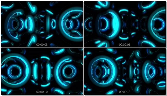 浪漫唯美的淡蓝色光圈旋转的视频素材