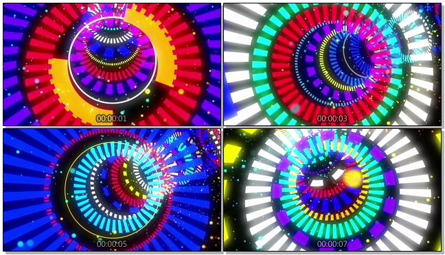 时尚炫酷的彩色线条隧道视频素材