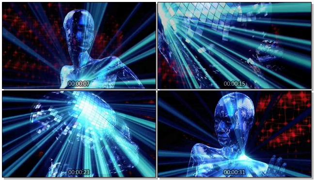 时尚动感的人形模拟酒吧灯光闪耀视频素材