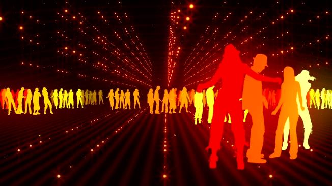 时尚动感的金色灯光舞动人群视频素材
