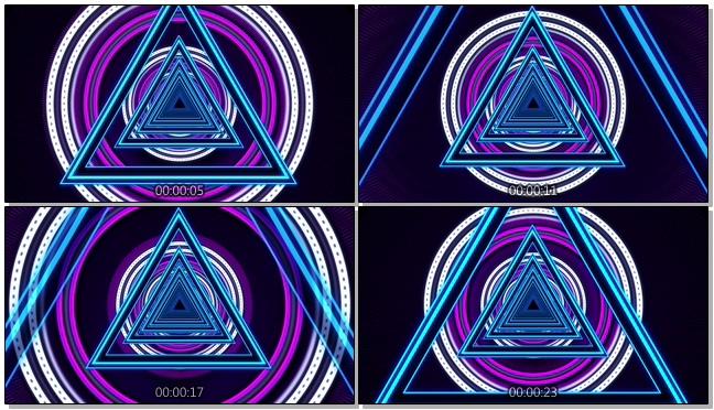 唯美梦幻的三角形灯光隧道视频素材