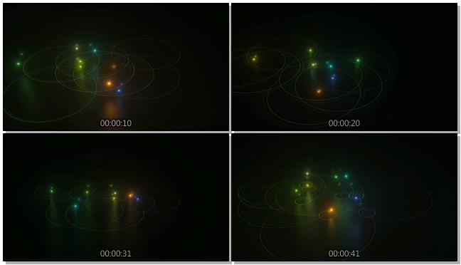 欢乐的彩色跳球在光圈中跳动的视频素材