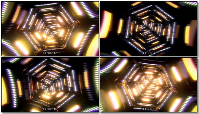 动感炫酷的快速灯光隧道视频素材