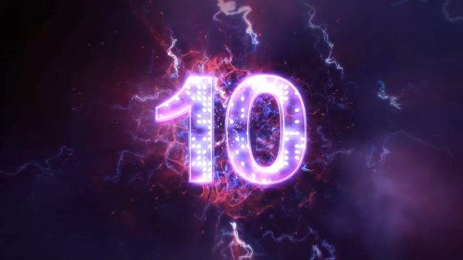 紫色倒计时10秒音乐背景视频素材