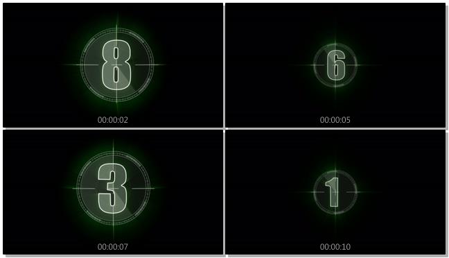 绿色镜头倒计时背景视频素材