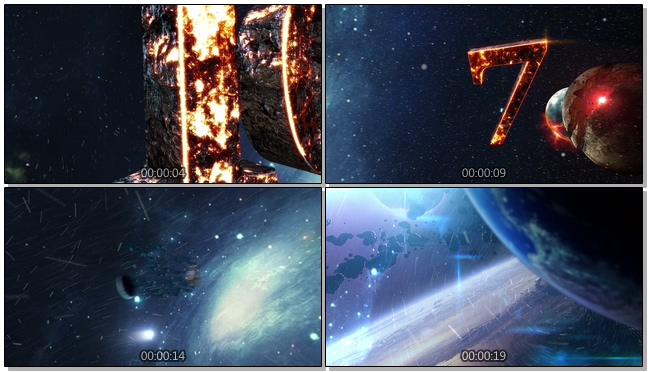 燃烧地球倒计时视频音乐背景视频模板