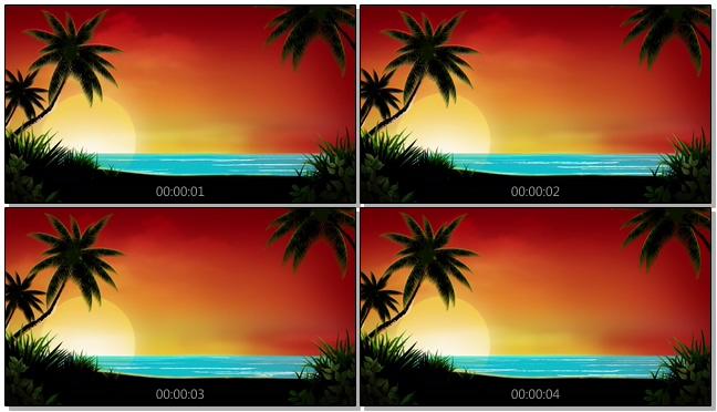 夕阳沙滩背景视频素材
