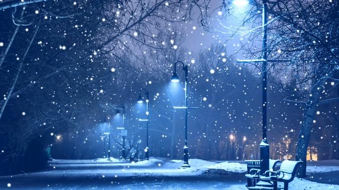 伤感下雪街景视频素材