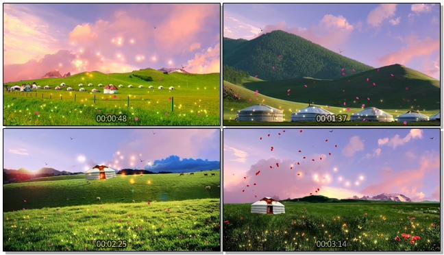 高清草原蒙古包蓝天白云音乐背景视频素材