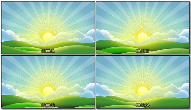 手绘简洁夕阳山峰背景视频素材