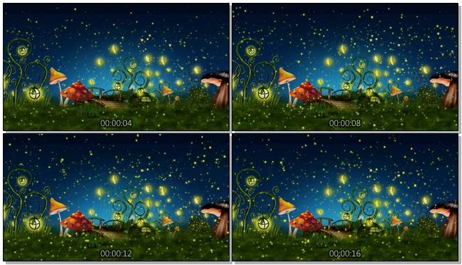 星空夜景草地蘑菇萤火虫背景视频素材