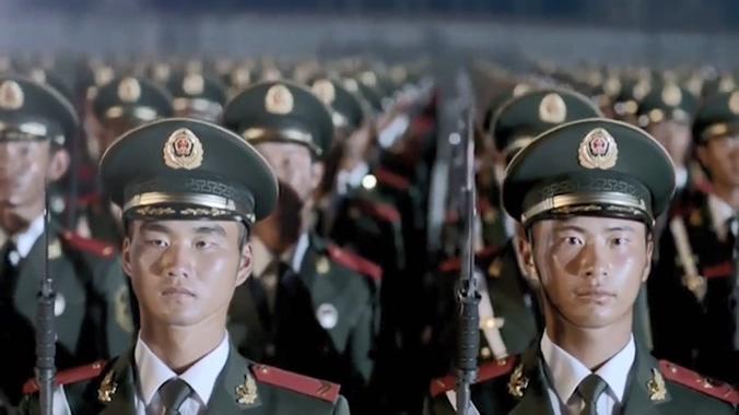 庄严神圣的武警官兵风采视频素材