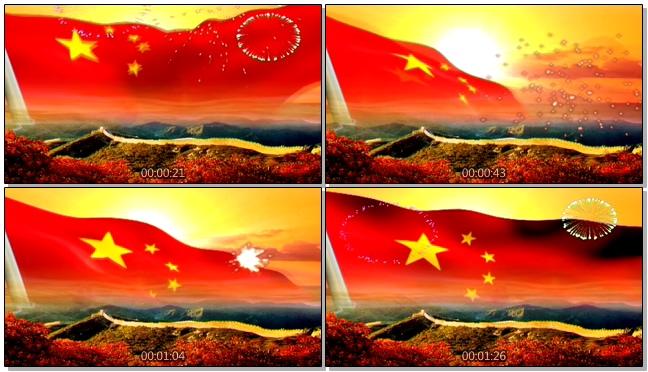 国旗在长城上空飘动的视频素材